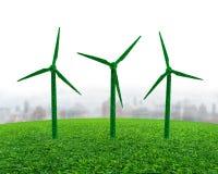 Zielona trawa w silnika wiatrowego kształcie na łące obrazy stock