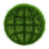 Zielona trawa z konturów ciemnymi terenami wewnątrz tworzy ikonę kula ziemska Zdjęcie Royalty Free