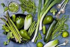 Zielona veggies grupa Jarscy obiadowi składniki Zielona warzywo rozmaitość Koszt stały, mieszkanie nieatutowy, odgórny widok, Fotografia Stock