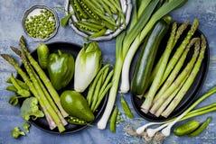 Zielona veggies grupa Jarscy obiadowi składniki Zielona warzywo rozmaitość Koszt stały, mieszkanie nieatutowy, odgórny widok, Obrazy Stock