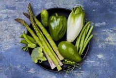 Zielona veggies grupa Jarscy obiadowi składniki Zielona warzywo rozmaitość Koszt stały, mieszkanie nieatutowy, odgórny widok, kop Obraz Royalty Free