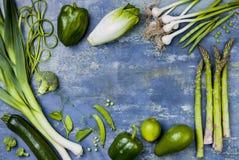 Zielona veggies grupa Jarscy obiadowi składniki Zielona warzywo rozmaitość Koszt stały, mieszkanie nieatutowy, odgórny widok, kop Obrazy Stock