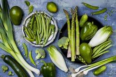 Zielona veggies grupa Jarscy obiadowi składniki Zielona warzywo rozmaitość Koszt stały, mieszkanie nieatutowy, odgórny widok Zdjęcia Royalty Free