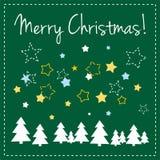 Zielona wektorowa Kartka bożonarodzeniowa z drzewami i życzeniami zdjęcia royalty free