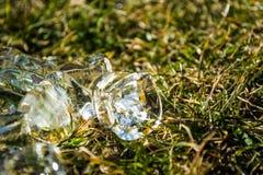 Zielona wiosny trawa na nim kostka lodu kłamstwo sunshine meadow gazon tło lub tekstura obrazy stock