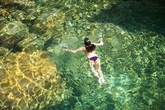 zielona wodna biała kobieta Zdjęcie Royalty Free