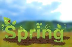 Zielona wpisowa wiosna z kroplami woda, liście, biedronka i ziemia, ilustracji