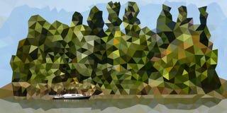 Zielona wyspa z osamotnioną łodzią ilustracji
