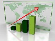 Zielona wzrostowa mapa Zdjęcie Stock
