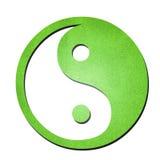 Zielona ying Yang symbolu papieru sztuka na bielu Obrazy Royalty Free