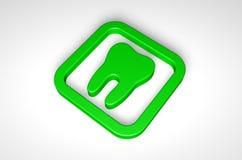 Zielona ząb ikona odizolowywająca na białym tle Zdjęcia Royalty Free