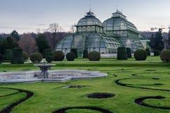 zielonawy Szklane szklarnie i wintergarden poprzedni dom motyle Blisko Wiedeń ogródu botanicznego i zoo Nea zdjęcie royalty free
