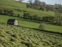Zielone łąki i jata, Szczytowy okręg, Anglia UK fotografia royalty free