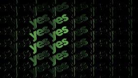 Zielone światła tworzą świecącego tekst TAK bieżącego na czarnym tle, pozytywny decyzji pojęcie animacja Elektryczny styl ilustracji