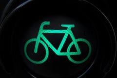Zielone światło dla bicyklu Fotografia Royalty Free