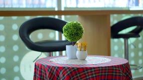 Zielone światło kawiarni wnętrze Zdjęcia Stock