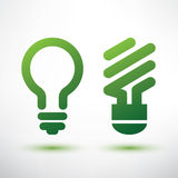Zielone żarówek ikony ustawiać Obraz Stock
