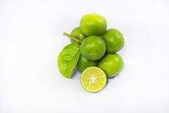 Zielone cytryny odizolowywać na białym tle Zdjęcia Stock