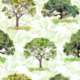 zielone drzewa Park, lasu wzór tło opuszczać bezszwowy akwarela Obrazy Royalty Free