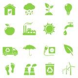 Zielone Eco ikony Fotografia Royalty Free