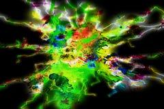 Zielone fiołkowe żółte geometrie phosphorescen formy, odcienie, formy na żywym abstrakcjonistycznym tle Obrazy Royalty Free