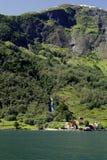 Zielone góry i siklawy w Sognefjord Scandinavia Norwegia Obraz Stock