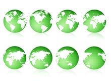 zielone globus poglądów Obrazy Royalty Free