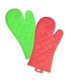 Zielone i czerwone kuchenne rękawiczki Fotografia Stock