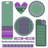 Zielone i lile grafika ustawiać Zdjęcia Royalty Free