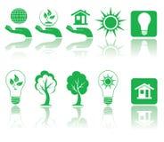 zielone ikony Obrazy Royalty Free