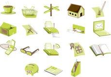 zielone ikony Obrazy Stock