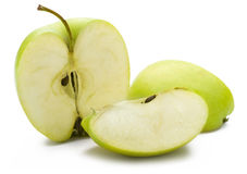 zielone jabłka cięcia Obrazy Royalty Free