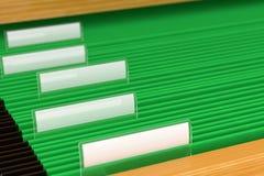 Zielone kartotek falcówki Zdjęcie Stock