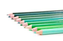 zielone kolorowe ołówki Zdjęcie Stock