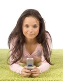 zielone komórek dywanowi telefonu kobiety young Zdjęcie Stock