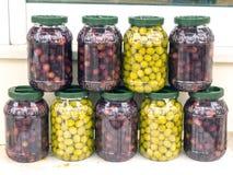 zielone oliwki czarne Fotografia Stock