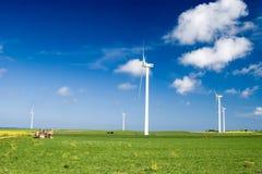 zielone pola, turbiny wiatr Zdjęcia Royalty Free