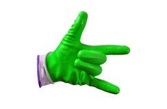 Zielone prac rękawiczki odizolowywać Zdjęcia Royalty Free