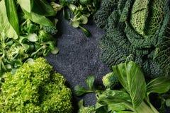 Zielone sałatki i kapusta Fotografia Stock