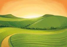 zielone wzgórza ilustracji
