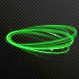 Zielonego łuny światła lśnienia wektorowi okręgi ilustracji