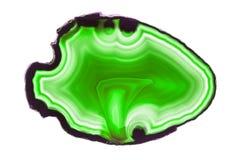 Zielonego agata plasterka round kopalina odizolowywająca na bielu Zdjęcia Stock
