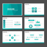 Zielonego błękitnego wieloboka infographic element i ikony prezentaci szablonów płaski projekt ustawiamy dla broszurki ulotki ulo Obraz Royalty Free
