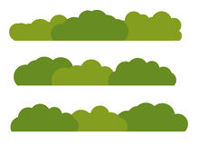 Zielonego Bush krajobrazu Płaska ikona Odizolowywająca na Białym tle Obrazy Royalty Free