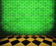 Zielonego Chessboard Ceglany Wewnętrzny tło Zdjęcie Royalty Free