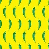 Zielonego chili zapasu wektorowy bezszwowy wzór na żółtym tle dla tapety, wzór, sieć, blog, powierzchnia, tekstury, grafika Obraz Royalty Free