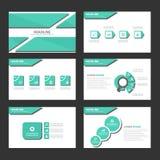 Zielonego cienia Infographic elementów ikony prezentaci szablonu płaski projekt ustawia dla reklamowej marketingowej broszurki ul Zdjęcia Royalty Free