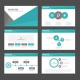 6 Zielonego czarnego wieloboka infographic element i ikony prezentaci szablonów płaski projekt ustawiamy dla broszurki ulotki ulo Obraz Royalty Free