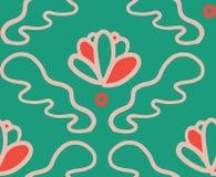 Zielonego czerwonego ornamentu kwiatu bezszwowy wz?r royalty ilustracja