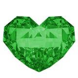 Zielonego diamentu kształtny serce Zdjęcie Royalty Free